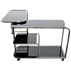 Mid-Century Modern 2-Tiered Gunmetal and Glass Serving Bar Cart by DIA, 1970s