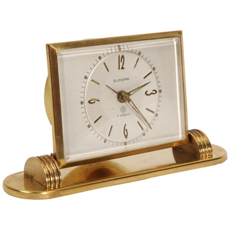 Mid-Century Modern Desk Clock Jewelled 8 Day German Movement by Europa