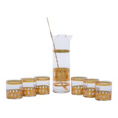 Mid-Century Modern 22 Karat Gold Cocktail Mixer and Six 4 oz Glasses Set