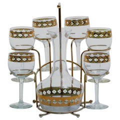Mid-Century Modern 22-Karat Gold Moroccan Decanter and Wine Glasses Set c. 1965