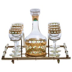 Mid-Century Modern 22-Karat Gold Moroccan Decanter and Wine Glasses Set