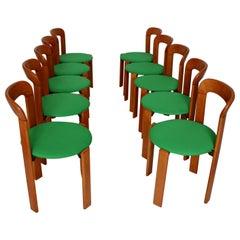 Mid-Century Modern 24 Brown Wood Vintage Dining Chairs Bruno Rey, 1970s