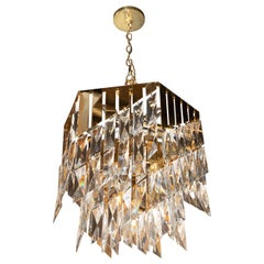 Mid-Century Modern 24kt Gold-Plated Fine Faceted Cut Crystal Bias Cut Chandelier