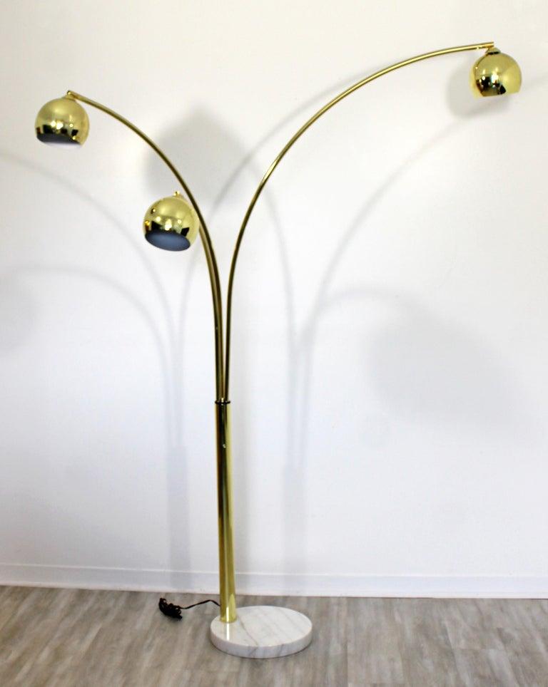 Mid Century Modern 3 Arm Brass Articulating Arc Floor Lamp