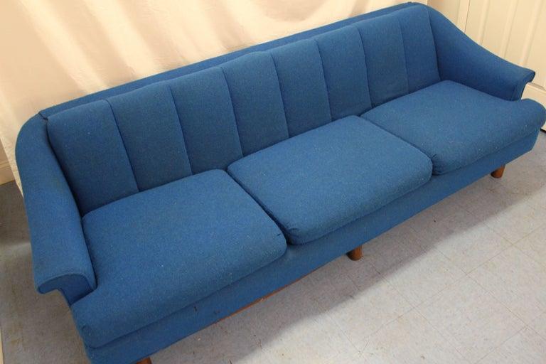 Phenomenal Mid Century Modern Three Cushion Blue Sofa Machost Co Dining Chair Design Ideas Machostcouk