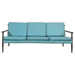 Mid-Century Modern 3 Cushion Vikko Open Arm Walnut  Sofa