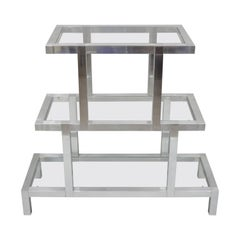 Mid-Century Modern 3-Tier Aluminum Glass Baughman Style Etagere Display Shelf