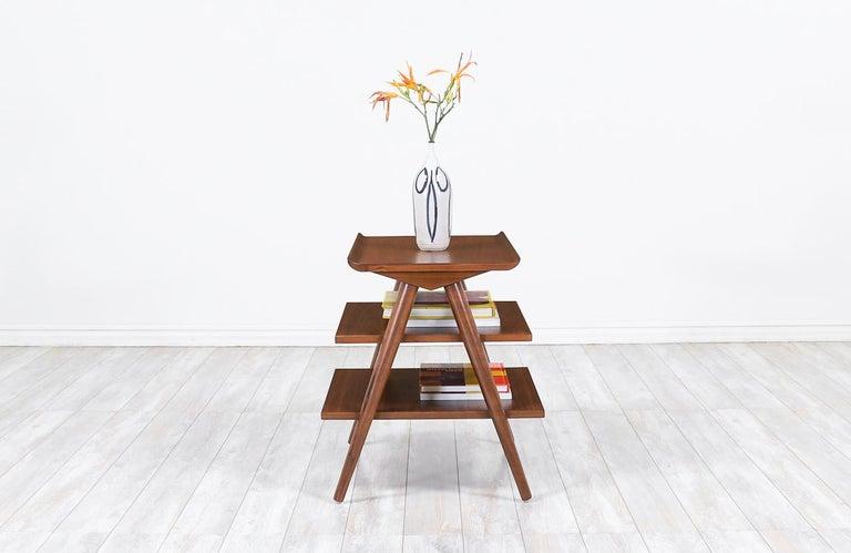 American Mid-Century Modern 3-Tier Side Table by Merton Gershun