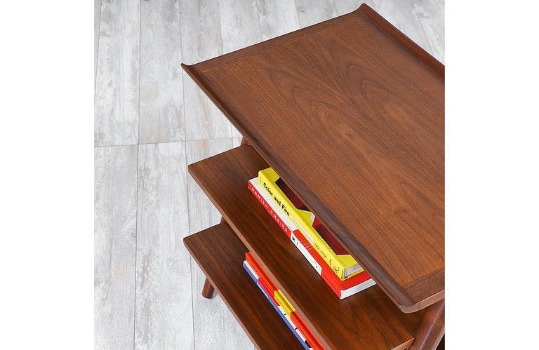 Wood Mid-Century Modern 3-Tier Side Table by Merton Gershun