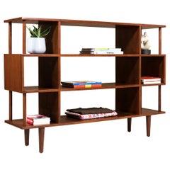 Mid-Century Modern 3-Tier Walnut Bookshelf Display Unit