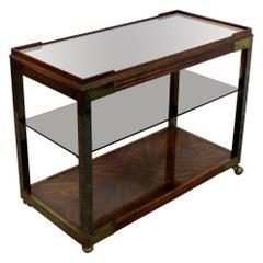 Mid Century Modern 3 Tiered Wood Brass Glass Mirror Top Serving Bar Cart, 1950s