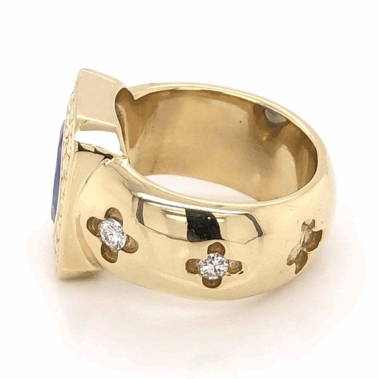Retro Mid-Century Modern 4 Carat Blue Sapphire Diamond Gold Ring Estate Fine Jewelry For Sale