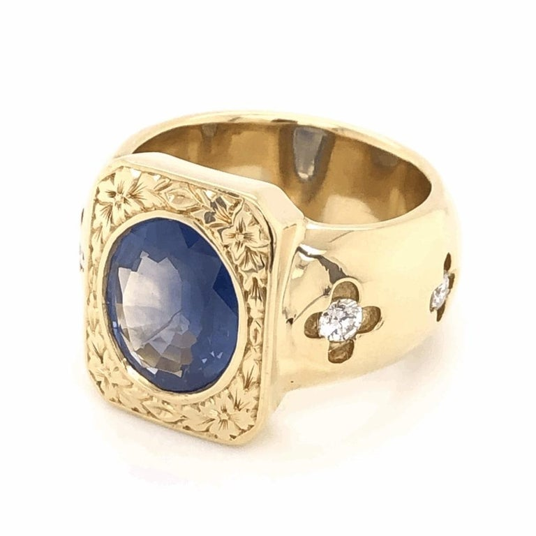 Mixed Cut Mid-Century Modern 4 Carat Blue Sapphire Diamond Gold Ring Estate Fine Jewelry For Sale
