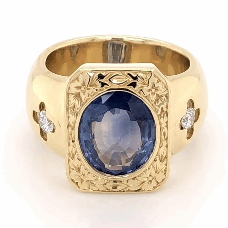 Women's or Men's Mid-Century Modern 4 Carat Blue Sapphire Diamond Gold Ring Estate Fine Jewelry For Sale
