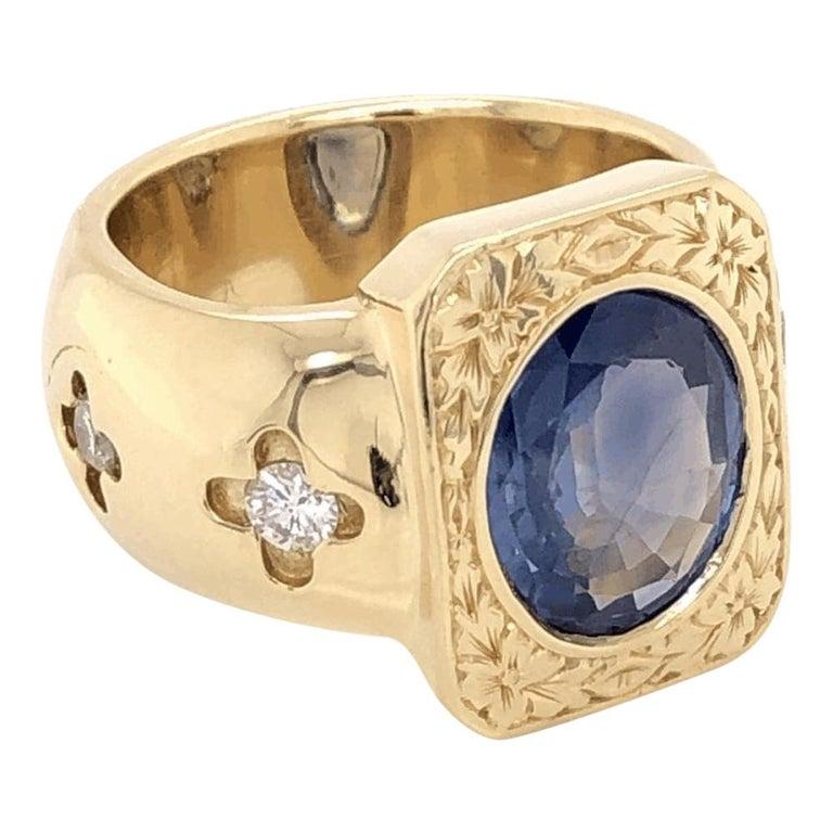 Mid-Century Modern 4 Carat Blue Sapphire Diamond Gold Ring Estate Fine Jewelry For Sale