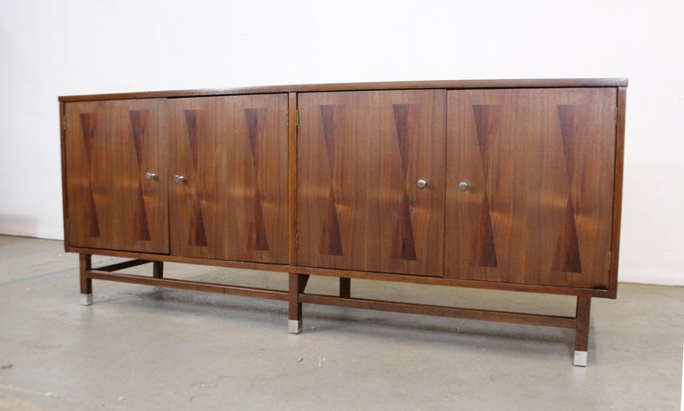 American Mid-Century Modern H Paul Browning 4-Door Parquet Walnut Credenza Sideboard  For Sale