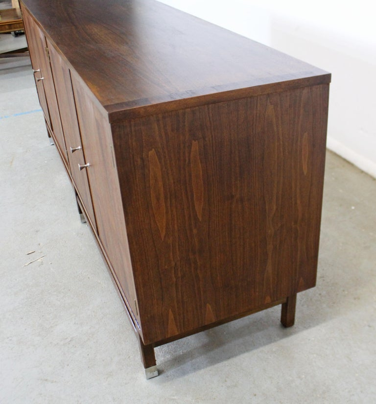 Mid-20th Century Mid-Century Modern H Paul Browning 4-Door Parquet Walnut Credenza Sideboard  For Sale
