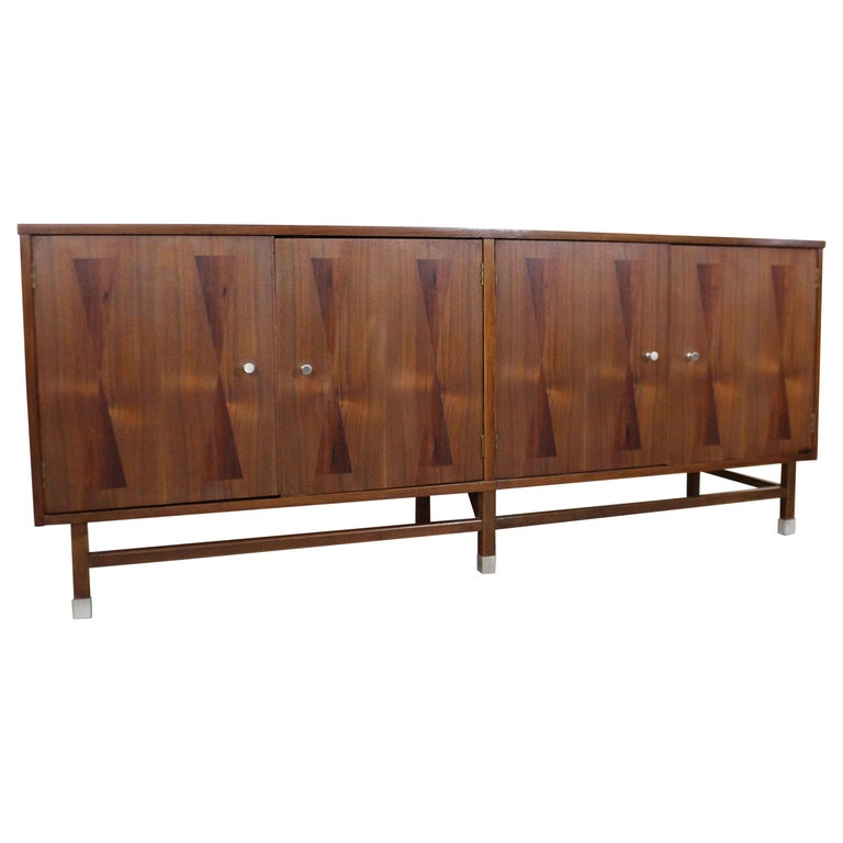 Mid-Century Modern H Paul Browning 4-Door Parquet Walnut Credenza Sideboard  For Sale