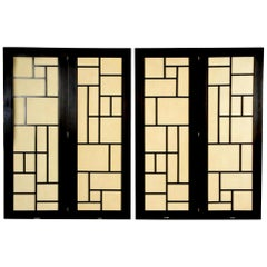 Mid-Century Modern 4-Panel Screen Room Divider