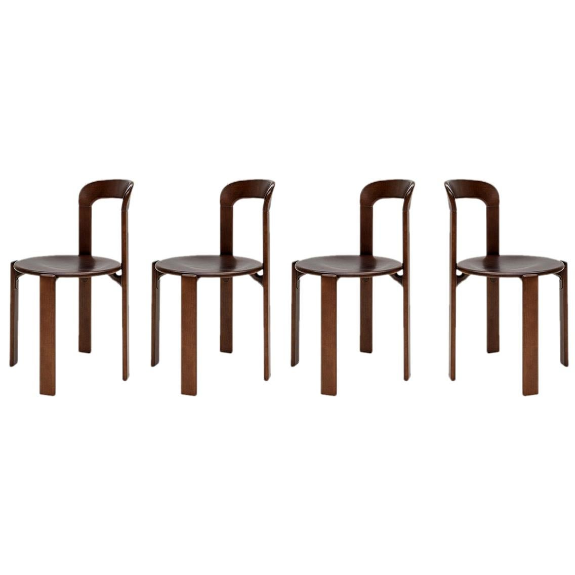 Mid-Century Modern, 4 Rey Chairs by Bruno Rey, Color Vintage Walnut, Design 1971
