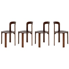 Mid-Century Modern, 4 Rey Chairs by Bruno Rey, Color Vintage Walnut, Design 1971