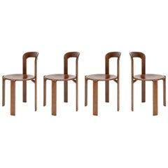 Mid-Century Modern, 4 Rey Chairs, Color Vintage Chestnut, Bruno Rey Design, 1971