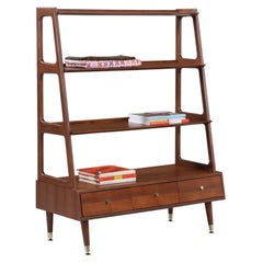 Mid-Century Modern 4-Tier Pyramid Walnut Bookshelf
