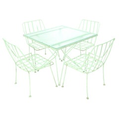 Mid-Century Modern 5 Pieces Glass Top Outdoor Dining Set Art, Russel Woodard