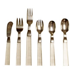Mid-Century Modern 52 Piece Porter Blanchard Lucite and Silver Flatware, 1970s