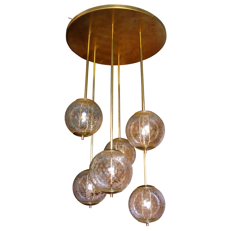Mid-Century Modern 6-Clear Glass Globes Brass Flush Mount Light, Attr to Venini