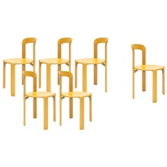 Mid-Century Modern, 6 Rey Chairs by Bruno Rey, Color Vintage Beech, Design 1971