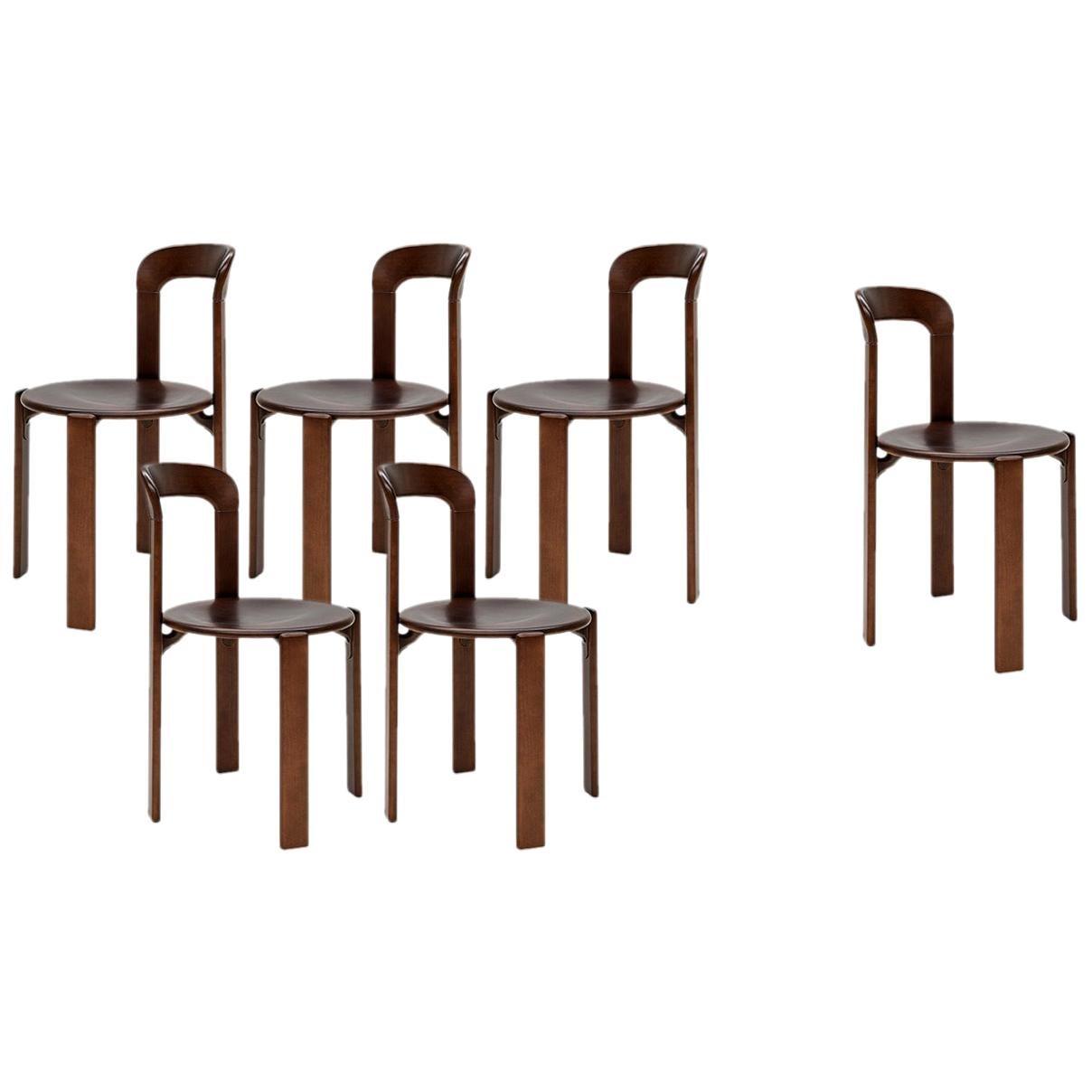 Mid-Century Modern, 6 Rey Chairs by Bruno Rey, Color Vintage Walnut, Design 1971