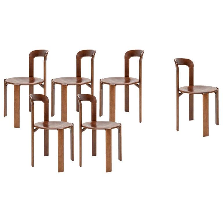 Mid-Century Modern, 6 Rey Chairs, Color Vintage Chestnut, Bruno Rey Design 1971 For Sale