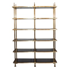 Mid-Century Modern 6 Tier Polished Brass & Black Resin Etagere by Maison Jansen