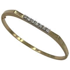 Mid-Century Modern 7 Diamond Bangle Bracelet 14 Karat Yellow Gold