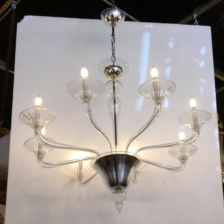 American Mid-Century Modern 8-Arm Glass and Brushed Steel Chandelier For Sale