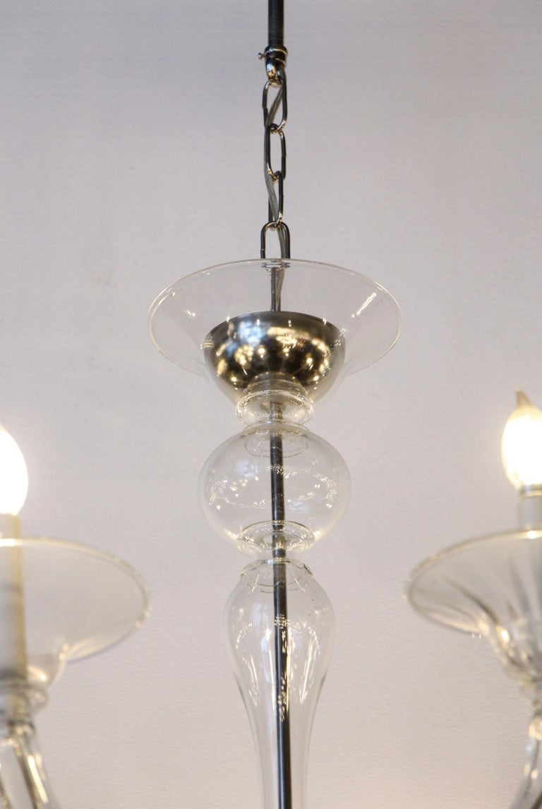 Mid-Century Modern 8-Arm Glass and Brushed Steel Chandelier In Good Condition For Sale In New York, NY