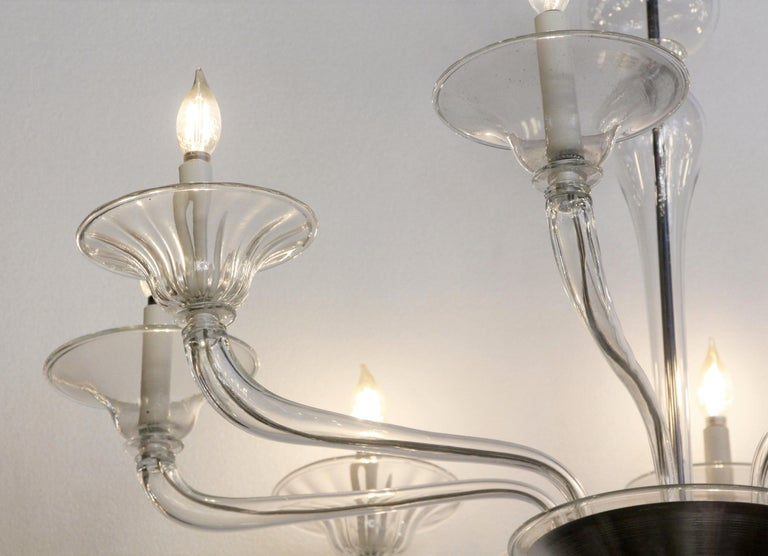 Contemporary Mid-Century Modern 8-Arm Glass and Brushed Steel Chandelier For Sale