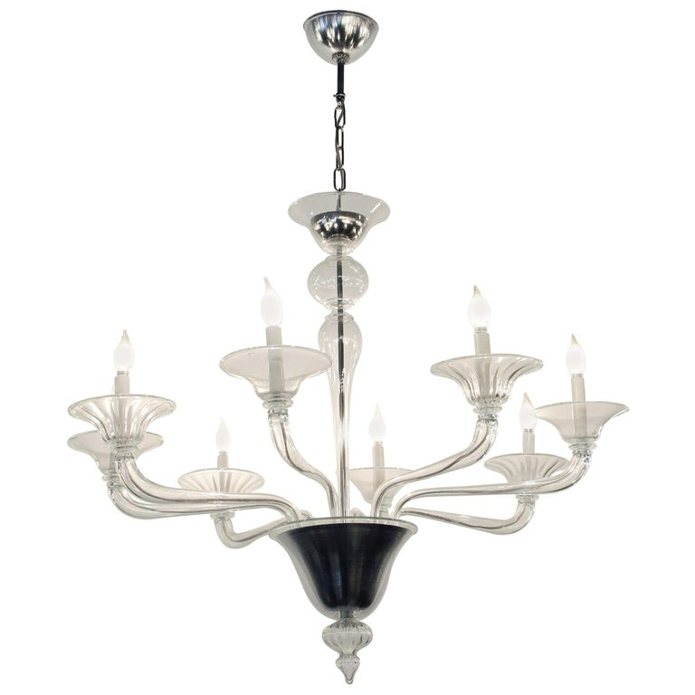Mid-Century Modern 8-Arm Glass and Brushed Steel Chandelier For Sale