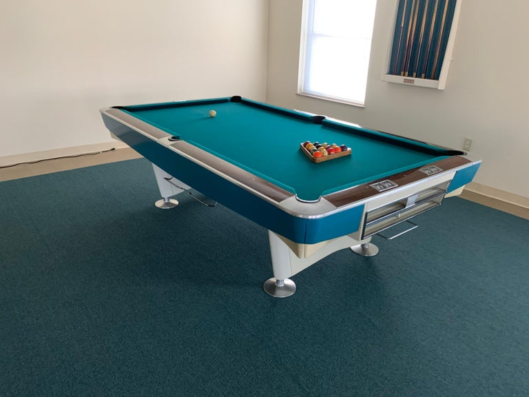 Mid-Century Modern Brunswick Gold Crown I Billiards Pool Table with Blue Aprons For Sale 8