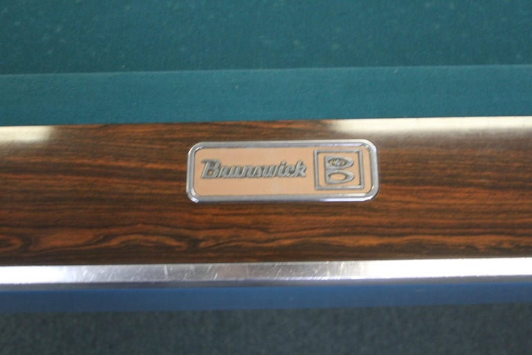 Mid-Century Modern Brunswick Gold Crown I Billiards Pool Table with Blue Aprons For Sale 11