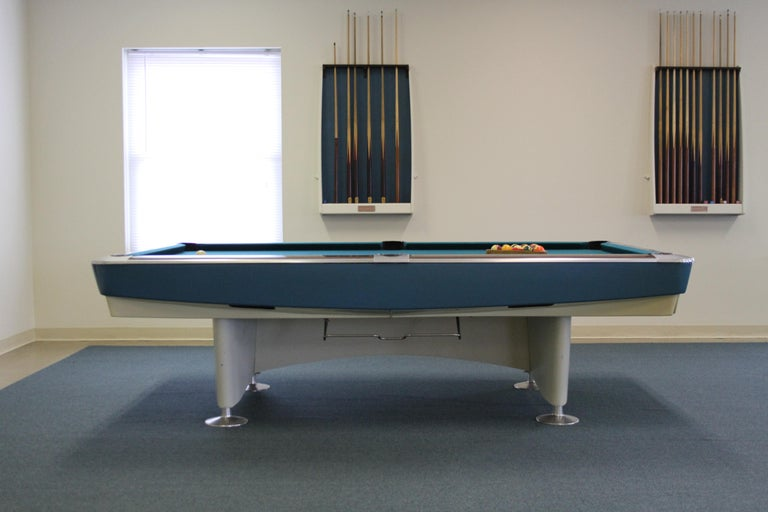 Mid-Century Modern highly coveted Brunswick Gold Crown I or AR-6100 billiards pools table from the Brutalist designed 1960s St. Louis Odd Fellows Lodge lounge, that was outfitted by the architect with all Charles Eames Aluminum Group Lounge chairs,