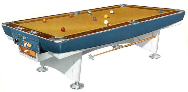 Mid-Century Modern Brunswick Gold Crown I Billiards Pool Table with Blue Aprons For Sale 13