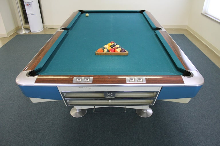 American Mid-Century Modern Brunswick Gold Crown I Billiards Pool Table with Blue Aprons For Sale