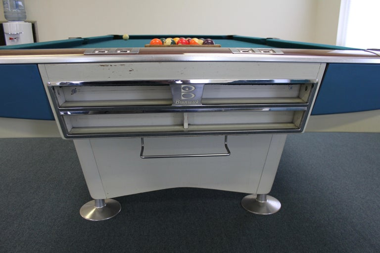 Mid-20th Century Mid-Century Modern Brunswick Gold Crown I Billiards Pool Table with Blue Aprons For Sale