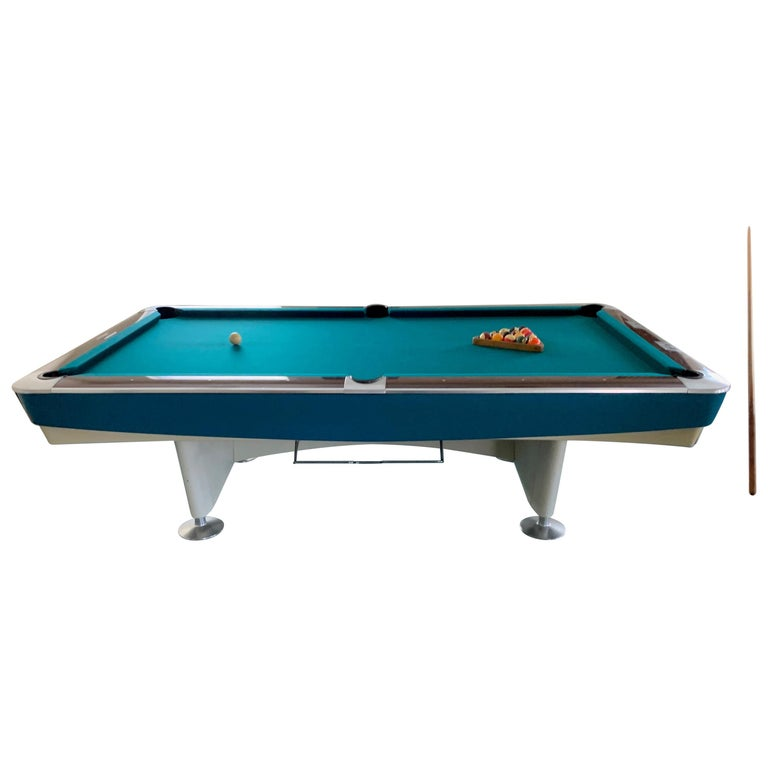 Mid-Century Modern Brunswick Gold Crown I Billiards Pool Table with Blue Aprons For Sale