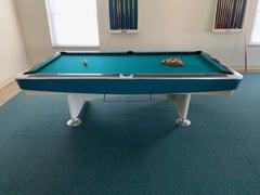Mid-Century Modern 8' Brunswick Gold Crown I Billiards Pool Table w/ Blue Aprons