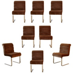 Mid-Century Modern 8 Chrome Cantilever Dining Chairs Mariani for Pace, Italy