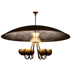 Mid-Century Modern 8-Light Chandelier with Massive Reflector Bowl