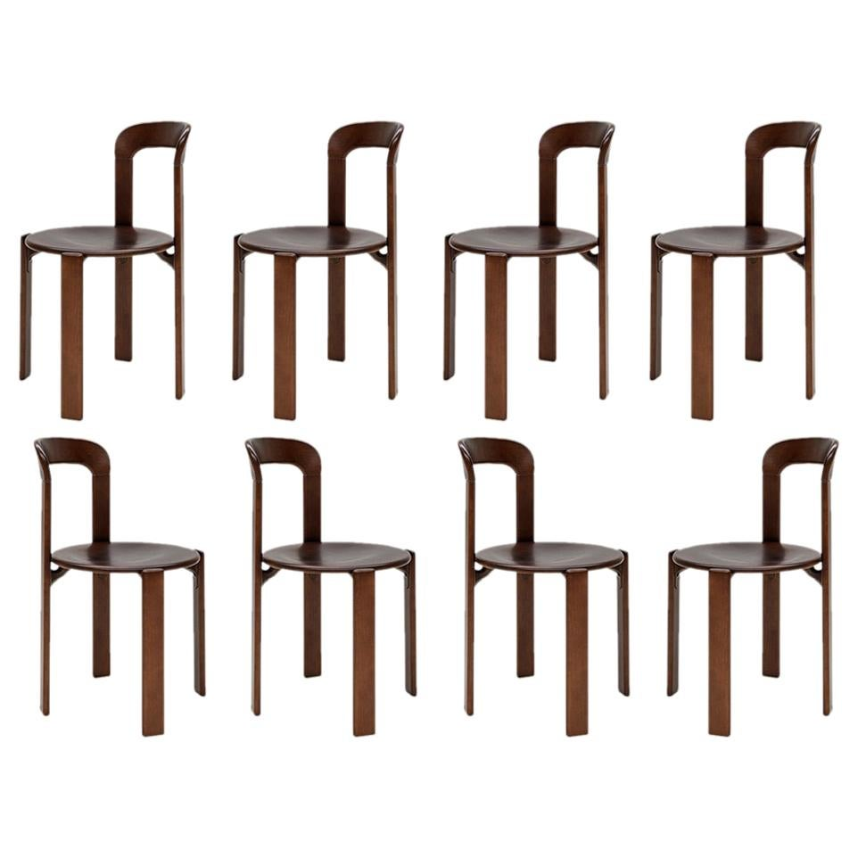 Mid-Century Modern, 8 Rey Chairs by Bruno Rey, Color Vintage Walnut, Design 1971